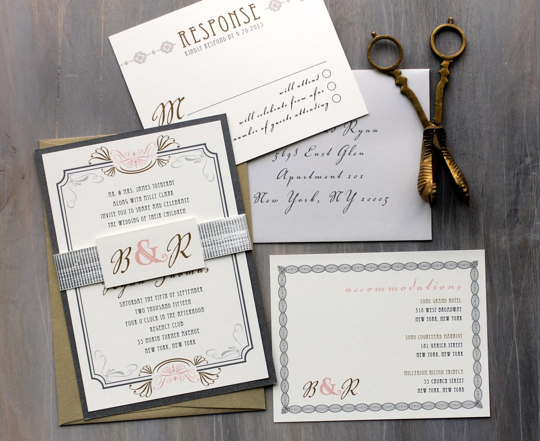 Artist Wedding Invitations: Art Deco Elegant Script Wedding Invitations Old Hollywood