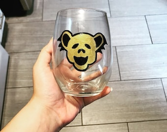 Dancing Bear Stemless Wine Glass