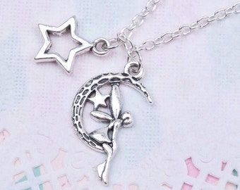 Silver Midsummer Nights Dream Necklace With Star Pendent on 18 Inch Chain