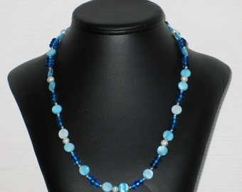 Turquoise Mother of Pearl Circle and Glass Necklace
