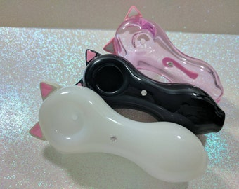 Pretty Kitty Ears and Tail Pink Glass Pipe, Moon Glass Spoon Pipe, Moon Glass Spoon Pipe, Custom Glass Pipe, Smoking Pipe