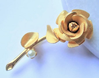 Vintage Rose Flower Brooch, Estate Faux White Pearl Gold Tone Dimensional Floral Pin Brooch, Gold Tone Flower Brooch, Estate Jewelry, 1960s'