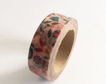 """SALE Washi Tape Floral """"Misty Pink"""" 15mm x 10 Meters"""
