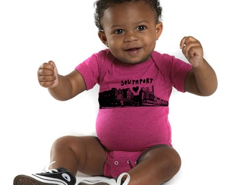 cute baby bodysuit, Southport Love Chicago Neighborhood Screenprinted Baby bodysuit -  - in hot pink or royal
