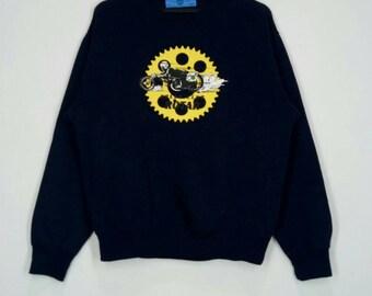 Rare!! SPEED CLUB ROTAR sweatshirt spellout pull over jumper crew neck dark blue colour medium size