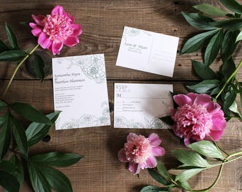 floral peony wedding invitation set - 50 invitations and RSVP post cards postcards wedding stationery