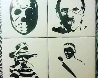 Horror Jason Freddy Leatherface Hannibal Tile Coaster Set
