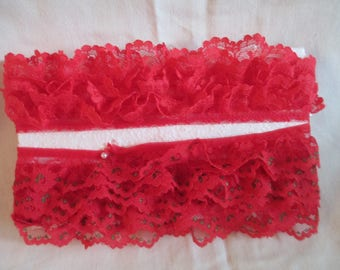 """Two  pieces lace one with red with green highlights ruffled lace 2 yards and one plain red piece 2yd 28 inch and 1""""  wide   sewing"""