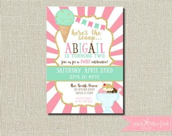 Ice Cream Birthday Invitation, Ice Cream Invitation, Glitter Ice Cream Invitation, Ice Cream Invitation, Glam, Mint Green, Pink, Printable