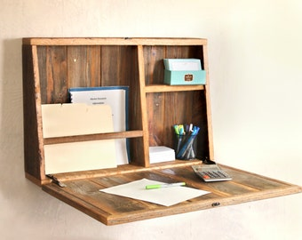 Drop Down Secretary Desk - Wall Mounted - Desk For Small Spaces - Secretary Desk
