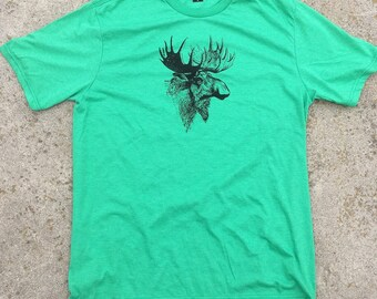 jätti Tri Blend T shirt Vintage Moose Print, **free shipping**
