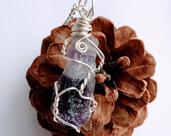 Amethyst Point Necklace - Amethyst Point Pendant - Wire Wrapped Amethyst Point - Raw Amethyst Necklace - Raw Amethyst Pendant - Amethyst