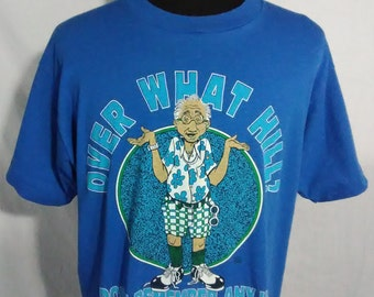 Over What Hill Mens XL T Shirt Blue Novelty Retire Screen Stars Best Vintage 80s