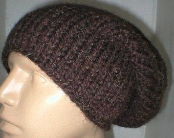Brown slouchy hat, winter hat, knit hat, toque, wood brown hat, mens womens brown hat, brown knitted hat, chunky knit hat, slouchy beanie