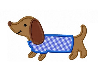Instant Download Dachshund Applique Machine Embroidery Design NO:1404