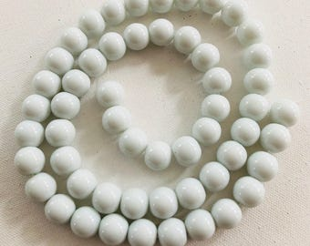15mm white round glass beads