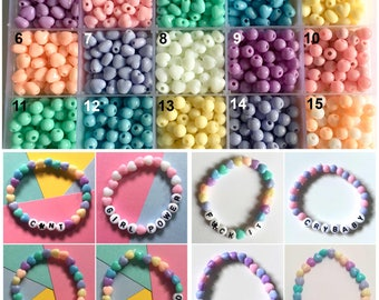 Custom wording pastel beaded bracelet