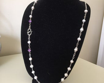 Pearl Chain Necklace with Alexandrite