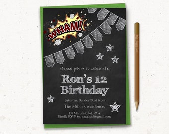 Teen Boy Birthday Invitation Chalkboard Invite 12th Graffiti Comics Retro