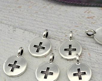 PLUS Charms, Antique Silver, TierraCast, Positive Sign Pendants, Tiny Charm Drops, Qty 4 to 20, Yoga Wrap Bracelet Findings