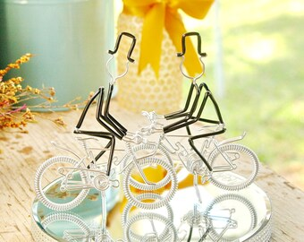 LGBT Wedding Cake Topper, Mr and Mr Silver Mountain Bikes with Silver Wheels, Handmade Wedding Cake Topper