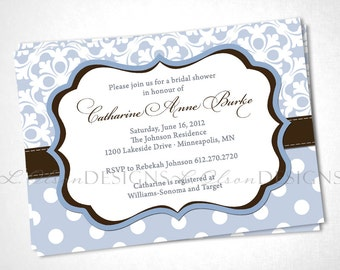 Stitched Boutique Bridal Shower Invitation - Baby Blue - DIY Printable