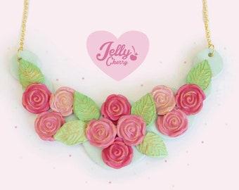 Vintage pink rose necklace
