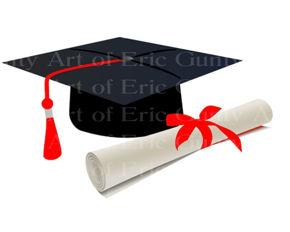 Black Graduation Cap With Red Tassel Diploma Birthday - Edible Cake and Cupcake Topper For Birthday's and Parties! - D24048