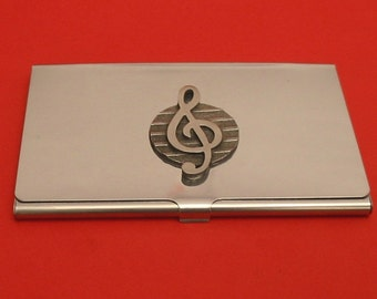 Treble Clef Chromed Card Holder With Hand Cast Pewter Motif MusicTeacher Musician Gift
