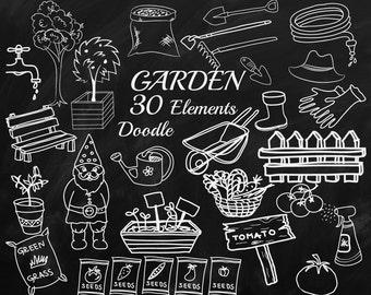 "Chalkboard Garden Clipart: ""GARDENING CLIPART"" Doodle Garden clipart,Garden Tools,Chalk doodles,Garden Illustration,Vegetables doodle"