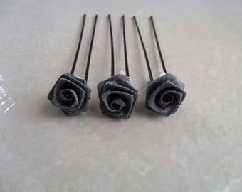 3 gray flower bridal hair accessories hair pins