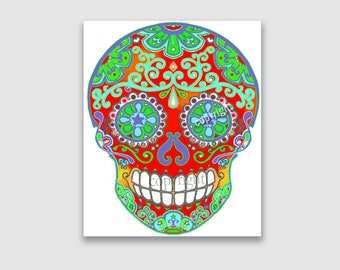 Printable Sugar Skull Instant Download - Day of the Dead Iron On, Decoupage, Craft Supply - Print at Home, JPG File by bones nelson