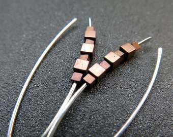 brown hematite earrings. sterling silver earings. copper jewellery.