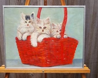 3 Kittens Original Oil on Canvas