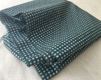 Vintage Fabric. Tiny Geometric. 1930s or 1940s. Blue and Bronze