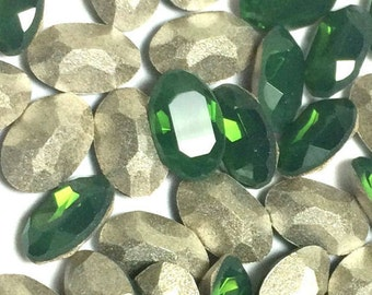 Swarovski 6x4 Oval Rhinestones Palace Green Opal AB Art # 4120 Qty 6 For Crystal Clay