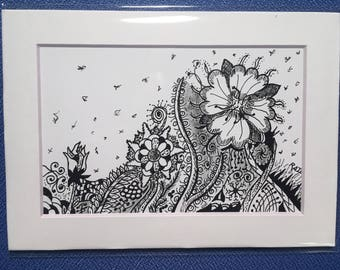 Flower Bed #1 doodle art PRINT black and white