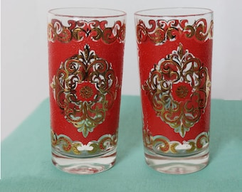 Mid-Century highball cocktail glass duo by Starlyte with hollywood regency flare in bright red and gold 50s bar set / collector / decor