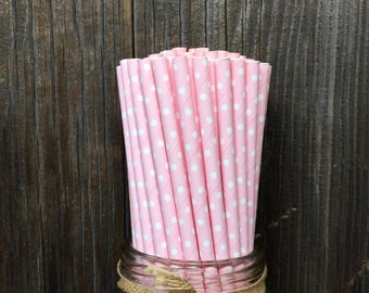 100 Light Pink with White Dot Straws, Baby Shower, Wedding or Bridal Shower, Birthday Party, Ballerina Party Supply, Free Shipping!