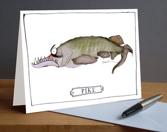 Pike -  fun fish greeting card from tony fernandes design