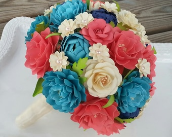 Paper Bouquet - Paper Flower Bouquet - Wedding Bouquet - Coral and Teal - Custom Made - Any Color