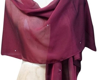 Burgundy Chiffon Shawl Wrap with Rhinestone