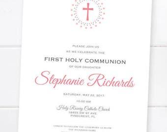 First Communion Invitation, Confirmation Invitation, Baptism, First Eucharist, Custom Colors PRINTABLE DIGITAL FILE