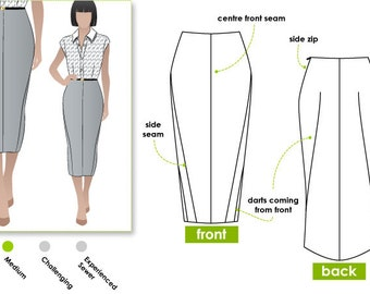 Zoe Pencil Skirt - Sizes 6, 8 & 10 - Downloadable PDF Sewing Pattern for Women