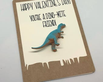 You're a Dino Mite Friend!  Valentine Cards with Dinosaur Toys- set of 12
