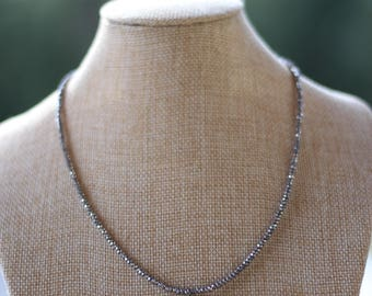 Silver Beaded Crescent Necklace