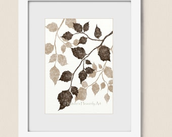Nature 5 x 7 Print, Birch Tree Wall Art, Branch Leaves, Leaf Print, Earthy Brown Colors, Home Decoration