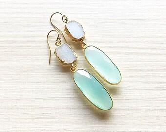 White Druzy & Oval Aqua Chalcedony Earrings // Chalcedony Earrings // Gold Earrings // Druzy Earrings // Dangle Earrings // Holiday Earrings