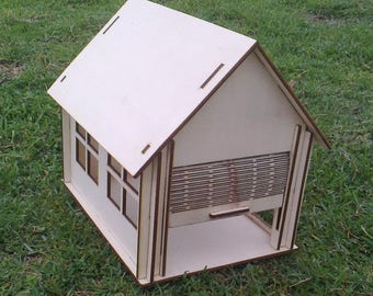 New Wooden Small Garage Dollhouse with Roller Shutter Door