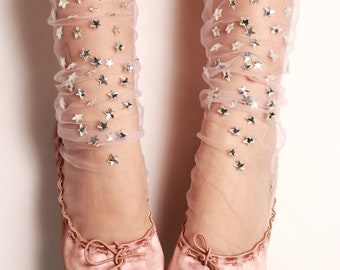 Blush Starry Tulle Socks